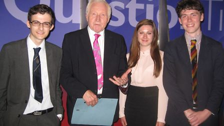 David Dimbleby with (left to right) Thomas Mounfield, Bridey de-Jong-Daly and Patrick Reeve.