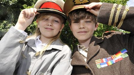 St Marys School, Ely, production of Henry V, (l-r) Will and Jacob.