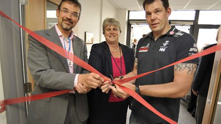 Opening of Ely College Science block, (l-r) Chairman of Govenors Ben Gibbs, Principal Catherine Jeki