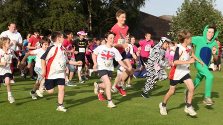 2264Year 11 pupils in action at the 'Race at your place' – Megan Tolliday, Madelaine Booth and Lydia