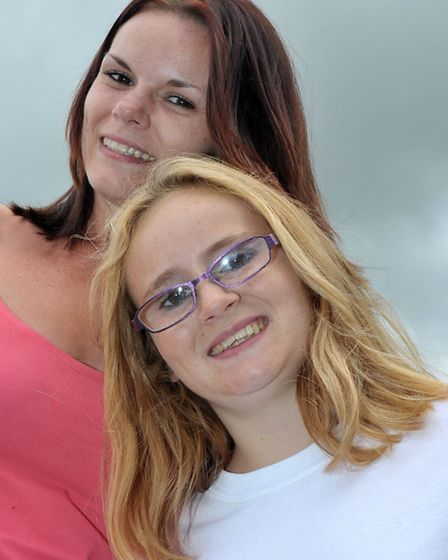 Chelsea Bowers and Gemma Weeks had their head shaved for cancer research. Left: Gemma Weeks and Chel