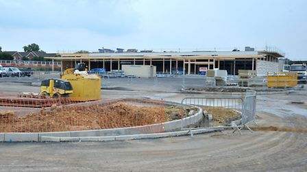 Topping out ceremony. New Tesco foodstore at Chatteris. Picture: Steve Williams.