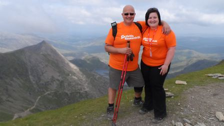 Kev and Julie Welbourn at the summit of Mount Snowdon.
