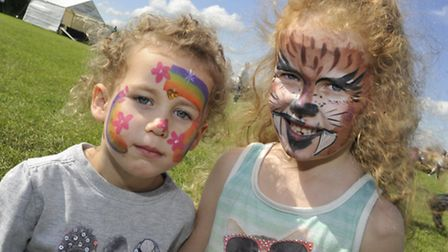 Little Downham Village Fete, (l-r) Tiarna, and Savana, with their face paint