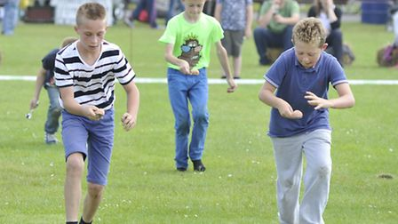Little Downham Village Fete, the childrens egg and spoon race (front l-r) Frankie, and Joseph,
