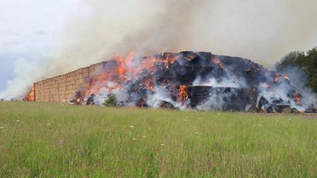 A straw stack caught fire at the former barracks in Waterbeach.