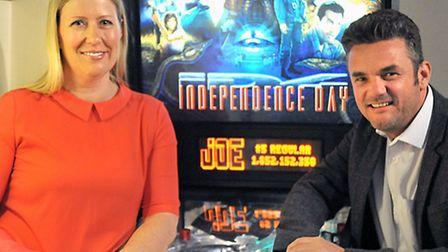 National Pinball Championships taking place at Bar 62, Ely. Left: Owner Fiona Talbot and Promoter Au