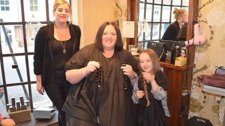 Karen and daughter Lucy sporting their new shorter locks