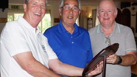 From left, Gosfiled captain Geoff Powdrill, Meadows Course chairman Tony Day and vice captain Malach