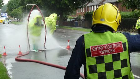 Fire crews outside Moy Park preparing to check for an ammonia leak (Photo: Cambs fire service)