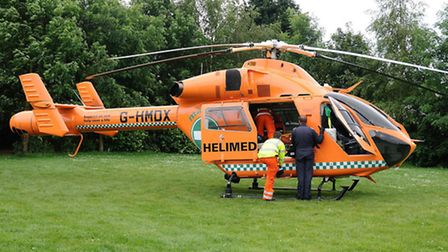 Magpas helicopter called to Crabmarsh, Wisbech (Photo: Terence Burke)