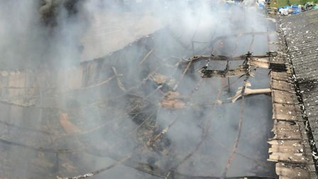 An aerial shot of the fire. Picture: CAMBS FIRE AND RESCUE