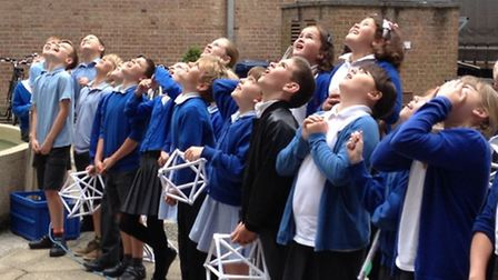 Year 5 pupils from Park Lane Primary School have a blast.