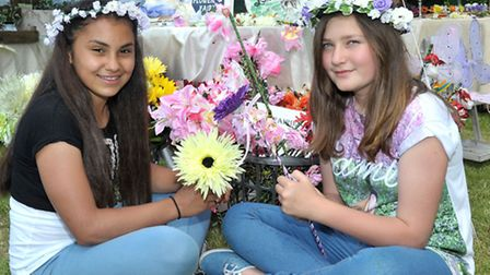 Rainbow Summer Solstice Festival at Five Bells Tydd St Mary. Left: Nyah Onurlu and Erin O'Brian. Pic