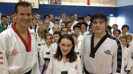 Cerys Easey, centre, with club colleagues