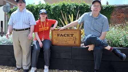 Anglia in Bloom judging, March. Mark, Nicky and James From Facet with the flower beds they created w