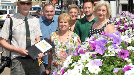 Anglia in Bloom judging, March. Left: Judge Nigel Bloxham, Robin and Frances Murry, Sylvia Keane, Ch