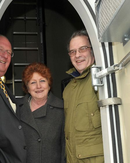 Getting to grips with green issues: Cllr Kit Owen (left) on a visit to Burnthouse Wind Turbines. Al