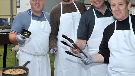 Bacon Buttie Festival at St peter's Church, Bacon buttie chefs. March. Picture: Steve Williams.