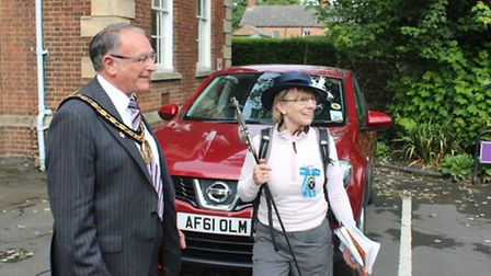 Linda Fairbrother, the High Sheriff of Cambridgeshire, and 15 fellow walkers in Fenland for the firs