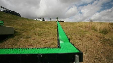 The elver pass during construction. The green bristle tufts in the trough enable the elvers to climb