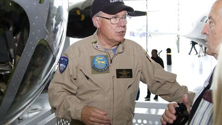 ACA4269 B-29 Superfortress pilot Paul Maupin chats to visitors about flying this iconic aircraft.