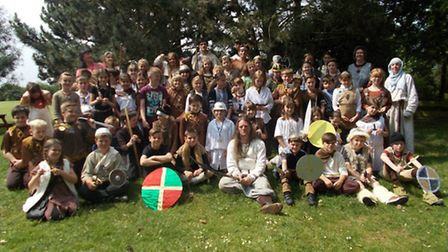Pupils in Viking attire with members of Clan Wulfhar.