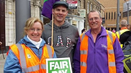 Vicky Cooper, branch secretary of the UNISON Fenland branch, with Unison members at the Peterborough