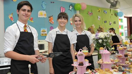 Afternoon tea made by year 10 catering students. at Neale-Wade. Left: Owen, Jasmine and Charlie on