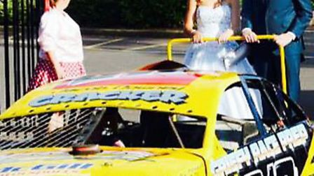Shelby Cowell and her boyfriend Connor Ward arrive at her prom in style on the back of Jacob Downey'