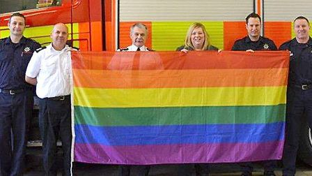 A RAINBOW flag flew outside Wisbech fire station for the first time to mark Lesbian Gay Bisexual Tra