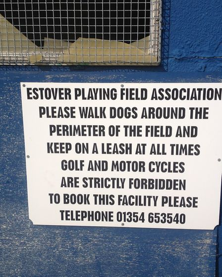 The sign at the entrance to Estover Playing Field
