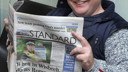 Steve Tierney reading the Wisbech Standard. Picture: Steve Williams.