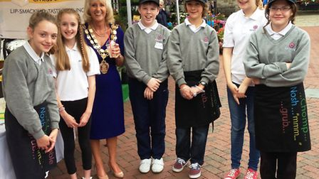 Ely College's Citrus Saturday team with mayor of Ely, Cllr Lis Every.