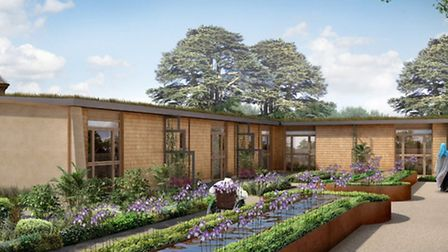 Planned courtyard for Sue Ryder Thorpe Hall hospice in Peterborough