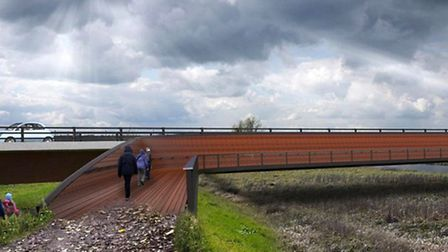 Ely Bypass. Separated footway and viewing platform.
