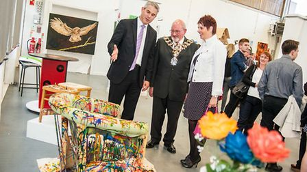 MP Stephen Barclay and Mayor of Wisbech Cllr Michael Hill are shown round the exhibition by head of