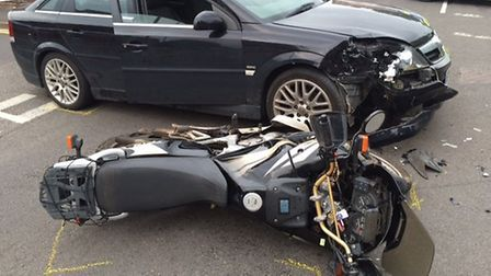 A motorcyclist was seriously injured in the collision with a car. Picture: CAMBS POLICE.