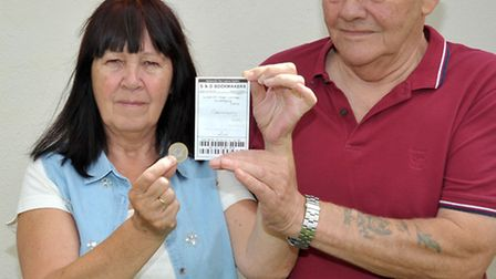 Anne and Ron Jones holding the S & D Bookmakers betting slip for Germany to win world cup. Picture: