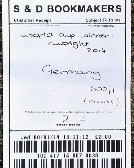 S & D Bookmakers betting slip for Germany to win world cup. Picture: Steve Williams.
