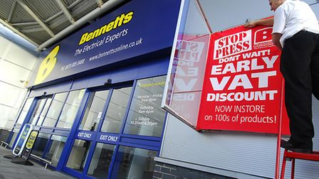 Bennetts electrical store early VAT discount sale as parent company Hughes has a change of emphasis.