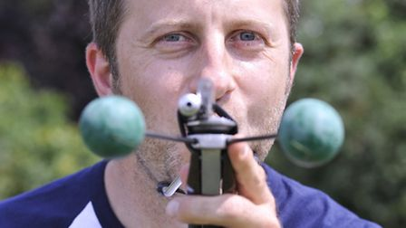 World Championship Pea Shooting, at Witcham, last years winner Rob Bresler.
