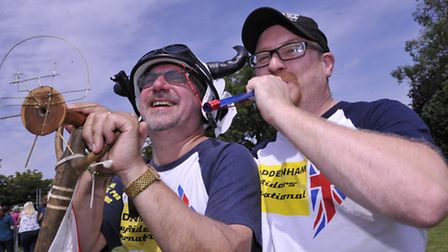 World Championship Pea Shooting, at Witcham, (l-r) Ian Ashmeade, and Toby Bush.