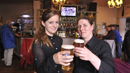 The Town House Beer Festival, Ely, (l-r) bar staff Charlotte Page, and Deputy Manager Megan Crowther
