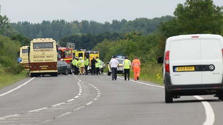 The A10 near Hilgay is closed due to a bus crash. Picture: Matthew Usher.