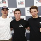 Alex Lynn, left, with Richie Stanaway and Nick Yelloly of Status Grand Prix. Picture: GP3