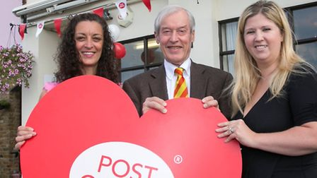 Postmaster Jackie Wright with MP Sir Alan Haselhurst and her business partner Nichola Smith.