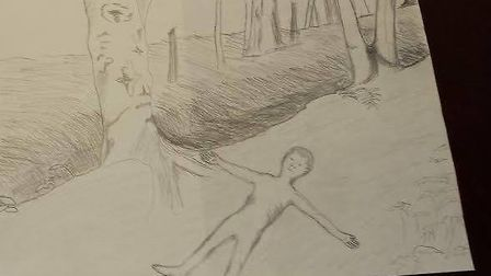 Sketch showing where Rikki's body was found. The drawing matches an original photo in police files