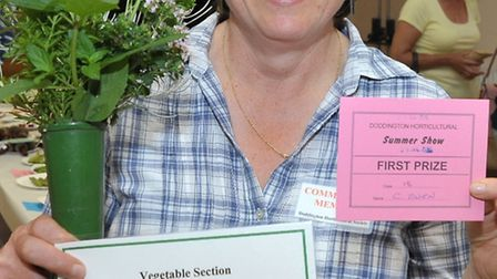 Doddington Horticultural Show. C Owen with first prize for herbs in a vase. Picture: Steve Williams.