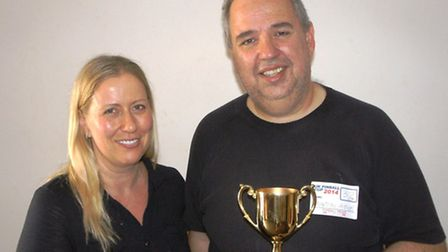 Cup winner Martin Ayub and Fiona Talbot, owner of Bar 62.